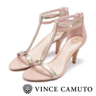 VINCE CAMUTO 優雅前衛 T字帶金屬設計低跟涼鞋-粉色