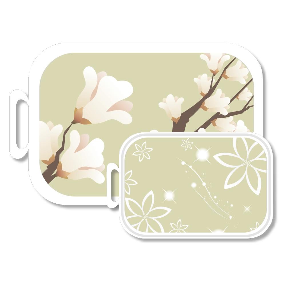 (買大送小) 韓國水彩花卉奈米銀抗菌砧板 2入裝