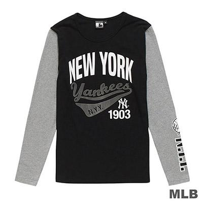 MLB-紐約洋基隊美式草寫植絨印花長袖T恤-黑 (女)