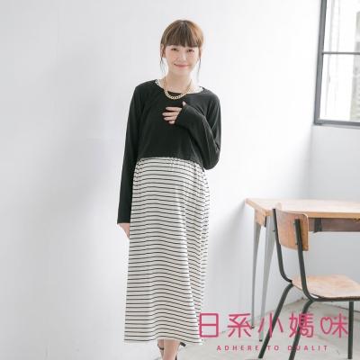 日系小媽咪孕婦裝-台灣製哺乳衣-二件式單口袋橫紋洋裝-共四色