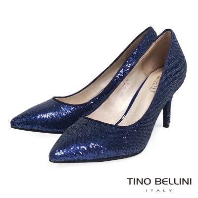 Tino-Bellini-閃耀絢麗細緻珠片跟鞋-藍