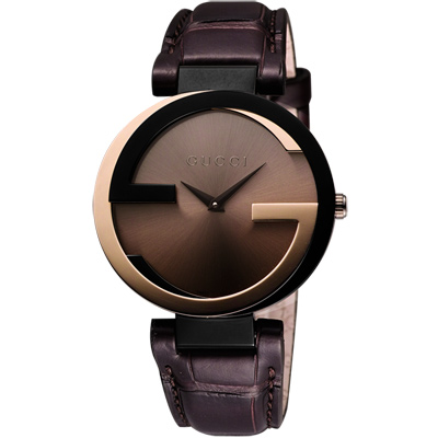 GUCCI Interlocking 奢華時尚元素18K玫塊金腕錶-37mm