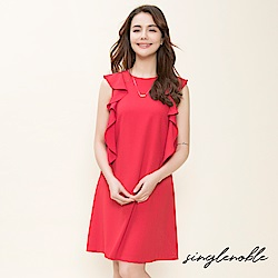 singlenoble 雋雅品味挖肩荷葉袖設計洋裝(2色)