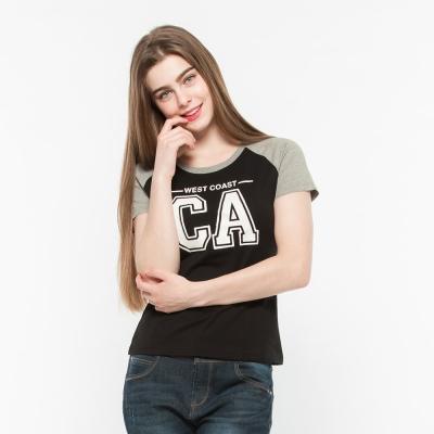 Hang Ten -女裝-有機棉 CA時尚潮流運動T-Shirt -黑