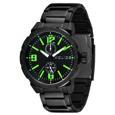 POLICE 暗夜狙擊雙眼時尚腕錶-綠x黑/48mm