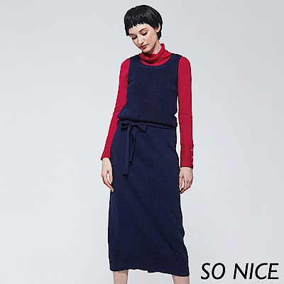 SO NICE質感拼接針織長洋裝