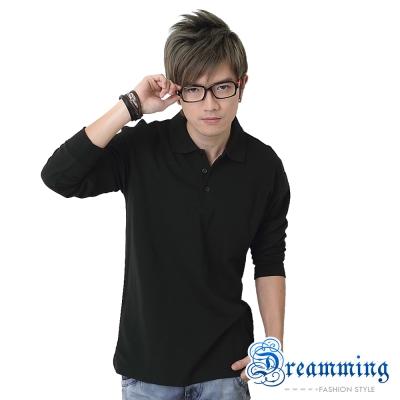 Dreamming 美式素面網眼長袖POLO衫-共二色