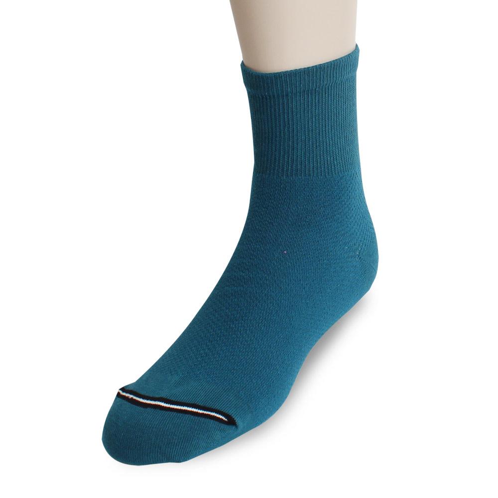 裕發 90°直角不滑落透氣網孔1/2休閒襪(20~24cm)3入-藍