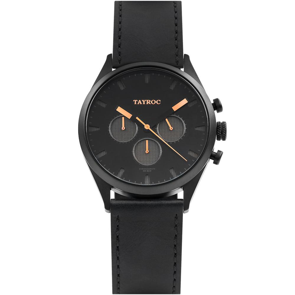 TAYROC 英式風尚三眼計時皮革手錶-黑X玫瑰金/42mm