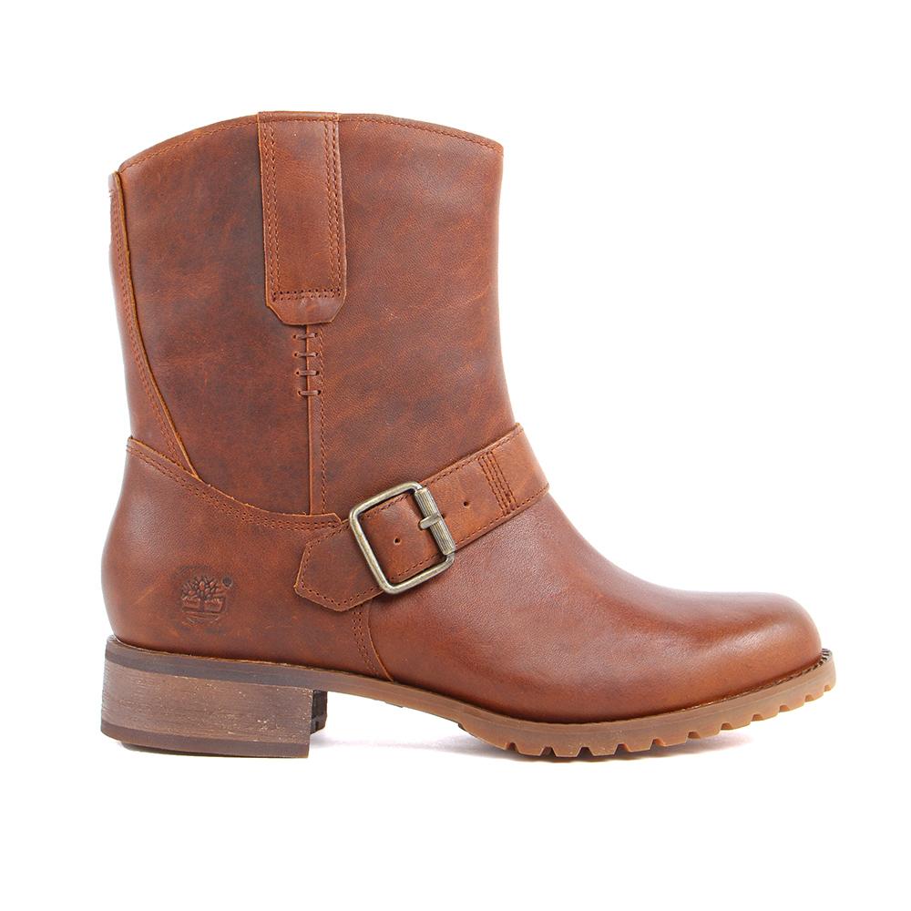 Timberland 女款咖啡色素面中筒防水套靴