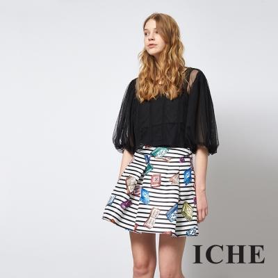 ICHE 衣哲 條紋印花時尚百搭打摺造型裙