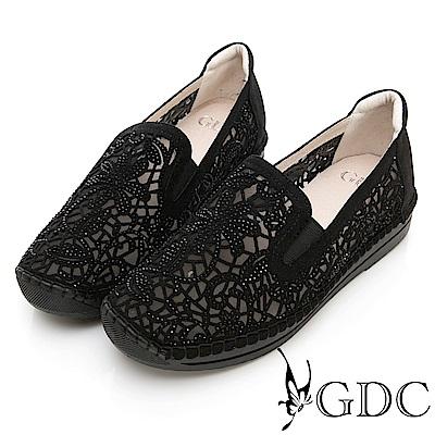 GDC-爆賣款花朵簍空鑲鑽懶人休閒鞋-黑色