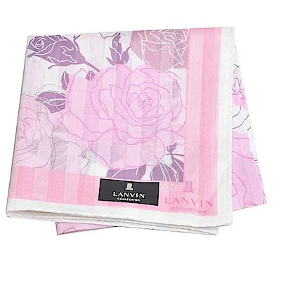 LANVIN 經典品牌玫瑰圖騰直紋LOGO大帕領巾(粉紫系)