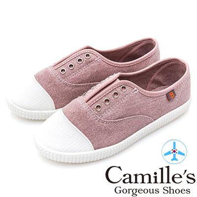 Camille's 韓國空運-正韓製- 8孔無綁帶丹寧平底休閒鞋-粉色