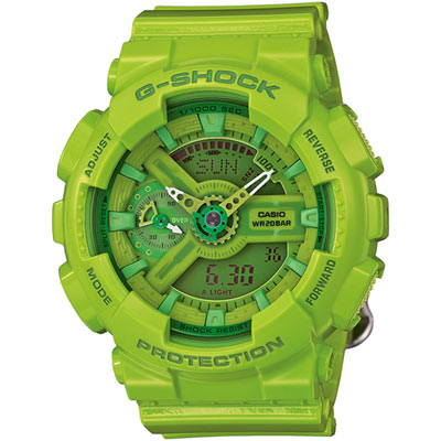 G-SHOCK 時尚彩色摩登雙顯錶(GMA-S110CC-3A)-翠綠/45.9mm