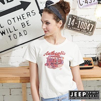 JEEP女裝 圖騰短袖T恤-白色