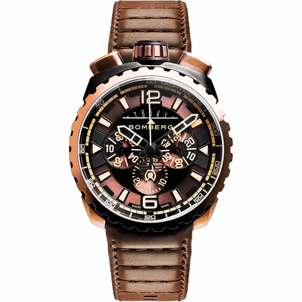 BOMBERG 炸彈錶 BOLT-68 深棕計時手錶- 45mm