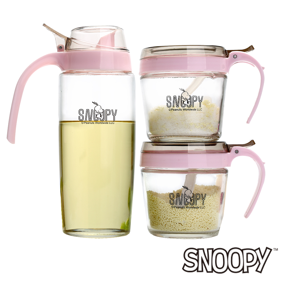 SNOOPY史努比 馬卡龍玻璃調味罐三件組-200mlx2+500ml(8H)