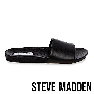 STEVE MADDEN-DAZE 真皮素面休閒拖鞋-黑色