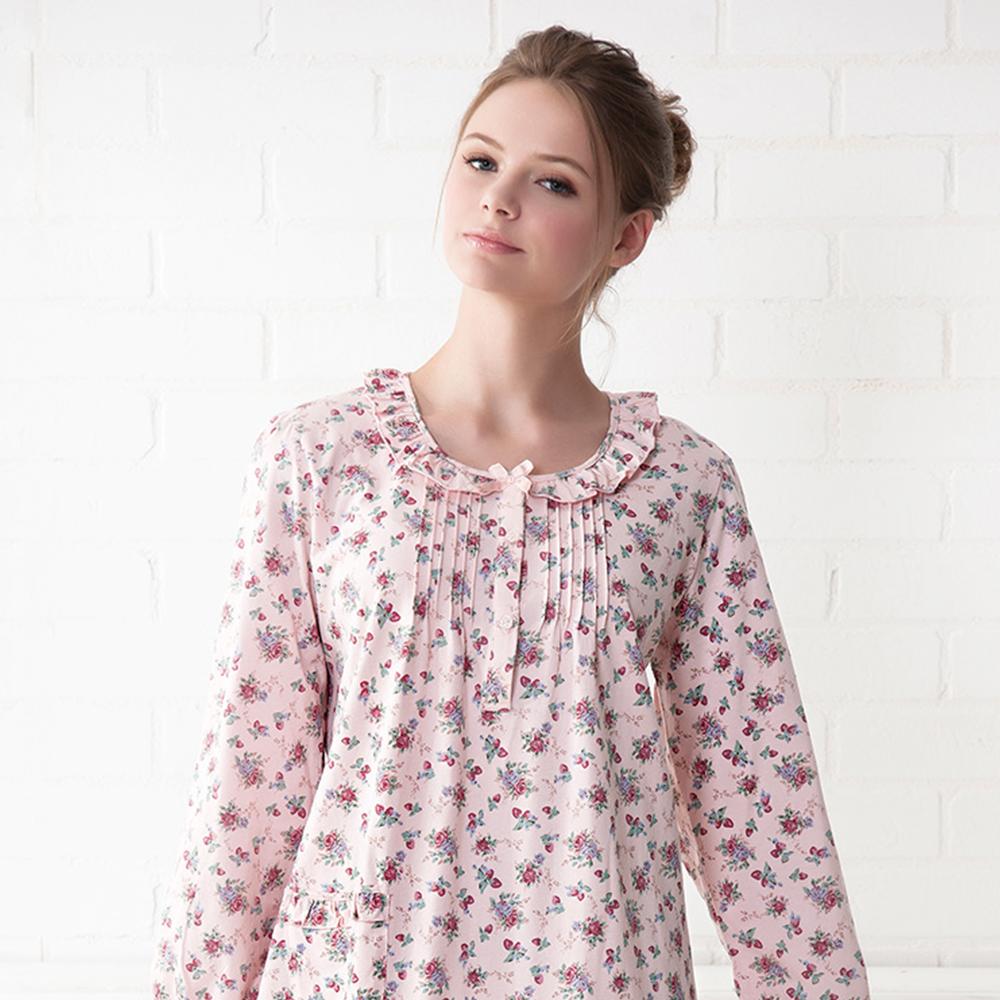 羅絲美睡衣 - 青春旋律長袖洋裝睡衣(粉桃色)