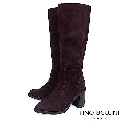 Tino Bellini 義大利進口麂皮寬筒高跟長靴_ 深咖