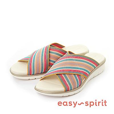 Easy Spirit--輕量交叉彈性布料魚口厚底涼拖鞋-彩虹條紋