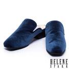 拖鞋 HELENE SPARK 質感絨布素面穆勒粗跟拖鞋-藍