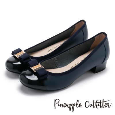 Pineapple Outfitter 典雅女伶 雙層蝴蝶結真皮拼接低跟鞋-深藍