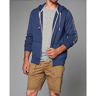 A&F 經典電繡手臂文字設計連帽外套-藍色 AF Abercrombie