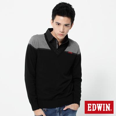 EDWIN-穩重紳士-配色條紋V領線衫-男款-黑色