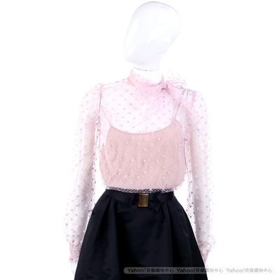 VALENTINO 粉色點點蕾絲領結設計長袖上衣(附內搭)