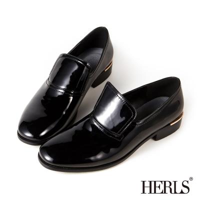 HERLS 內真皮個性漆皮樂福鞋-黑色