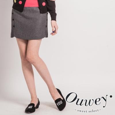 OUWEY-立體剪裁毛料裙