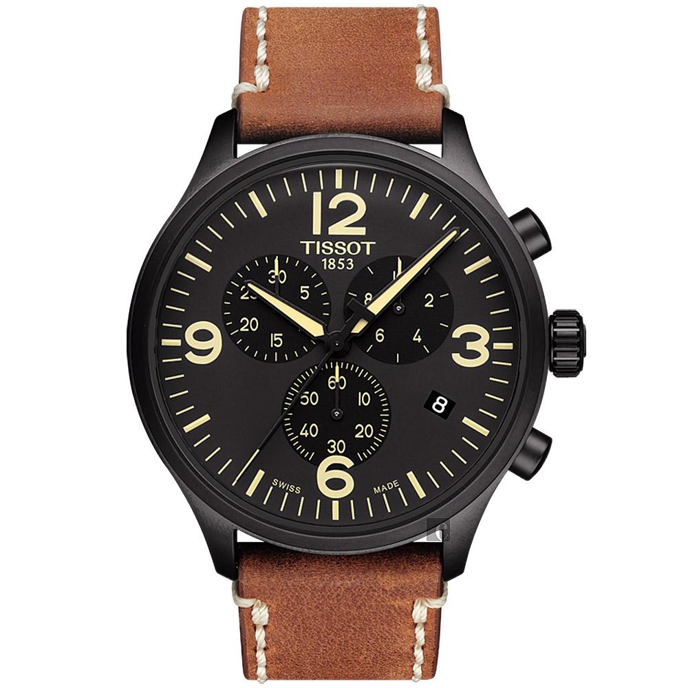 TISSOT天梭 韻馳系列 Chrono XL計時手錶-黑x咖啡/45mm