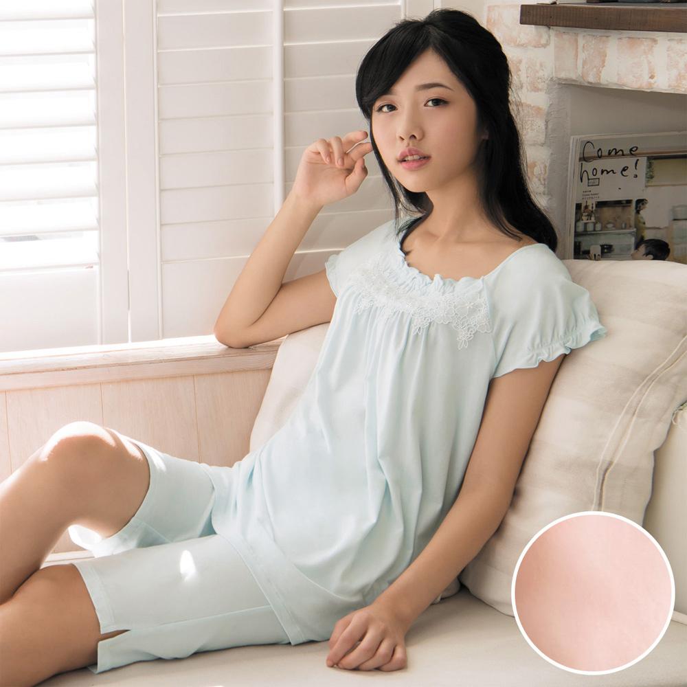 華歌爾睡衣 睡眠研究系列 薄荷紗 M-L 短袖褲裝(橘)
