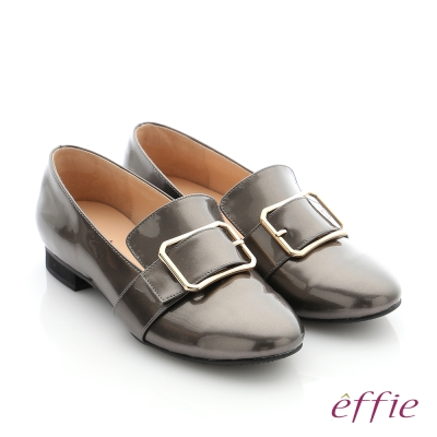 effie 個性美型 真皮方形飾釦奈米低跟鞋 灰色