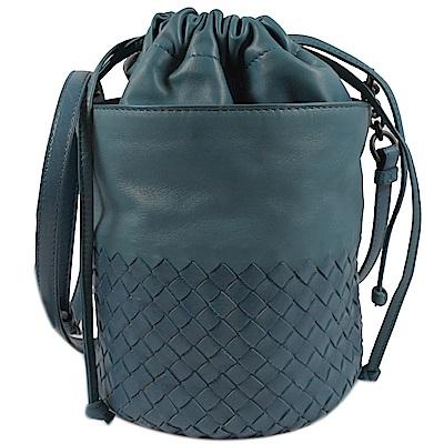 BOTTEGA VENETA編織斜背束口水桶包(藍綠)