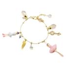 Les Nereides 優雅芭蕾舞女孩系列 春天粉色白色舞者音符羽毛寶石金色手鍊