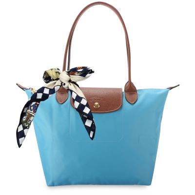 Longchamp 折疊小型水餃包(長提把/蔚藍色)-加贈帕巾