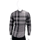 BURBERRY 經典大格紋棉質長袖襯衫(炭灰色)