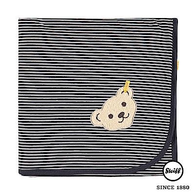 STEIFF德國金耳釦泰迪熊 - 舒眠毯 棉毯 條紋黑