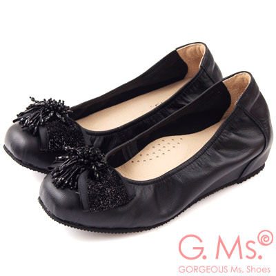 G.Ms. MIT系列-牛皮串珠金蔥布蝴蝶結方頭內增高鞋-高貴黑