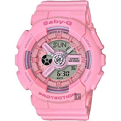 BABY-G 卡西歐粉嫩春色休閒女錶(BA-110-4A1)-玫瑰粉/43.3mm