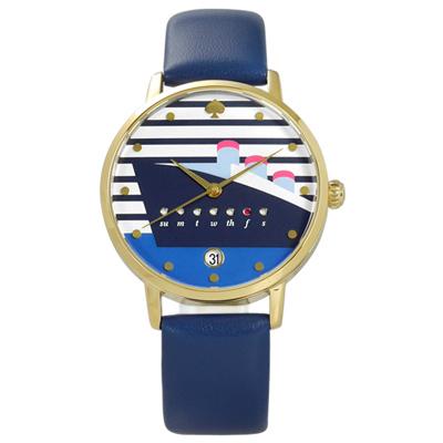kate spade 地中海風情遊輪真皮手錶-白藍x金框/34mm