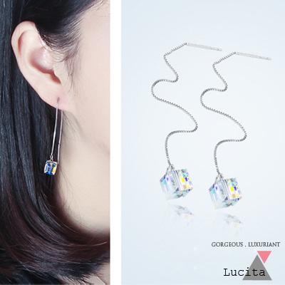LuciTA  時尚空運新款 水晶方糖咬一口垂墬耳環