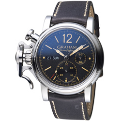 GRAHAM格林漢 左冠復古紳士計時腕表-咖啡色/43mm