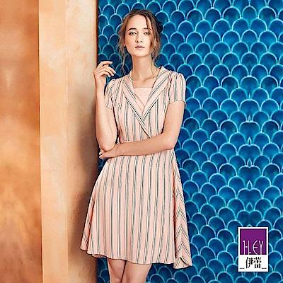 ILEY伊蕾 跳色條紋剪接修身洋裝(粉)