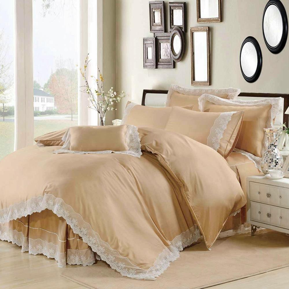 鴻宇HongYew 天絲典雅風-卡其金 雙人七件式兩用被床罩組