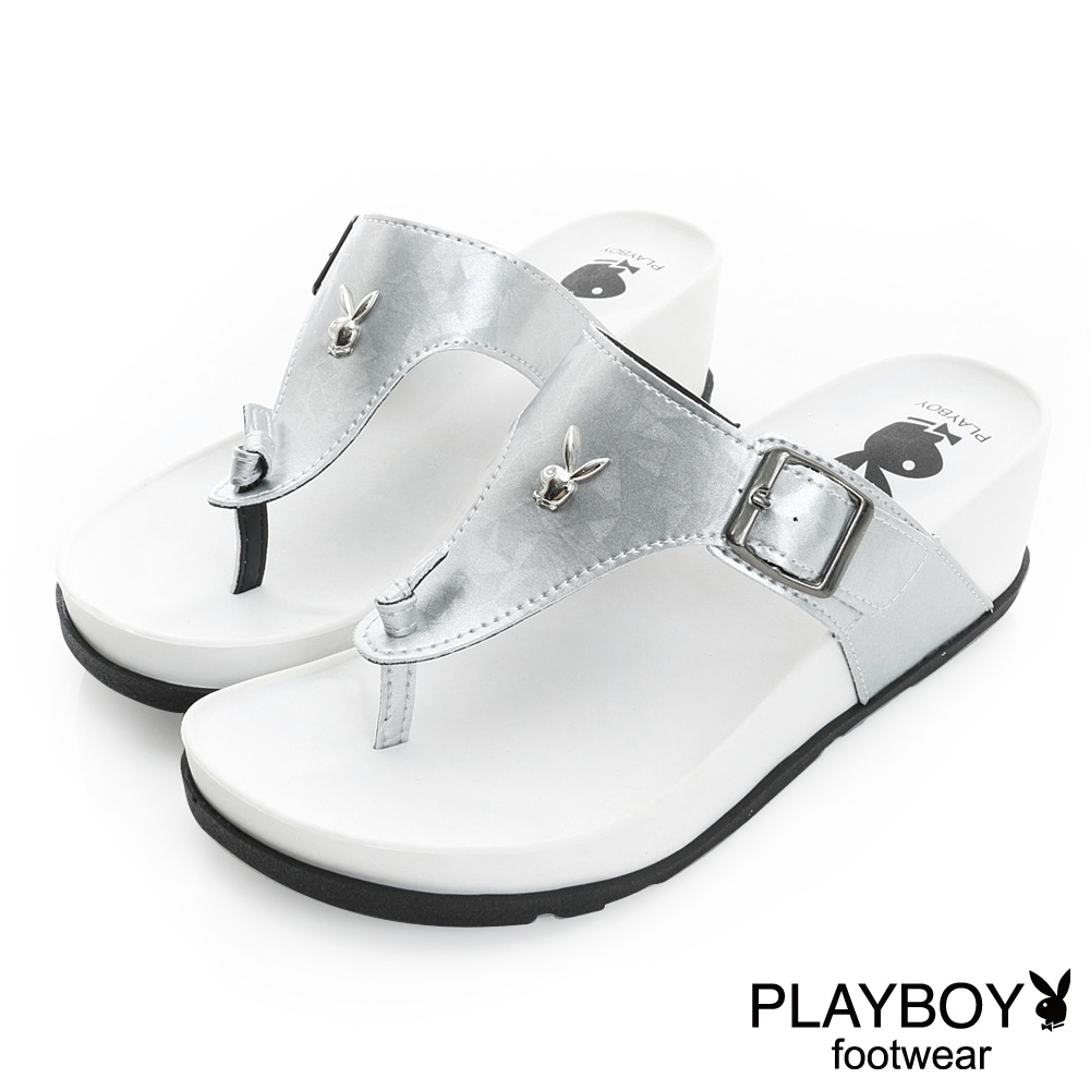 PLAYBOY 涼夏美學 簡約線條夾腳楔型拖鞋-銀(女)