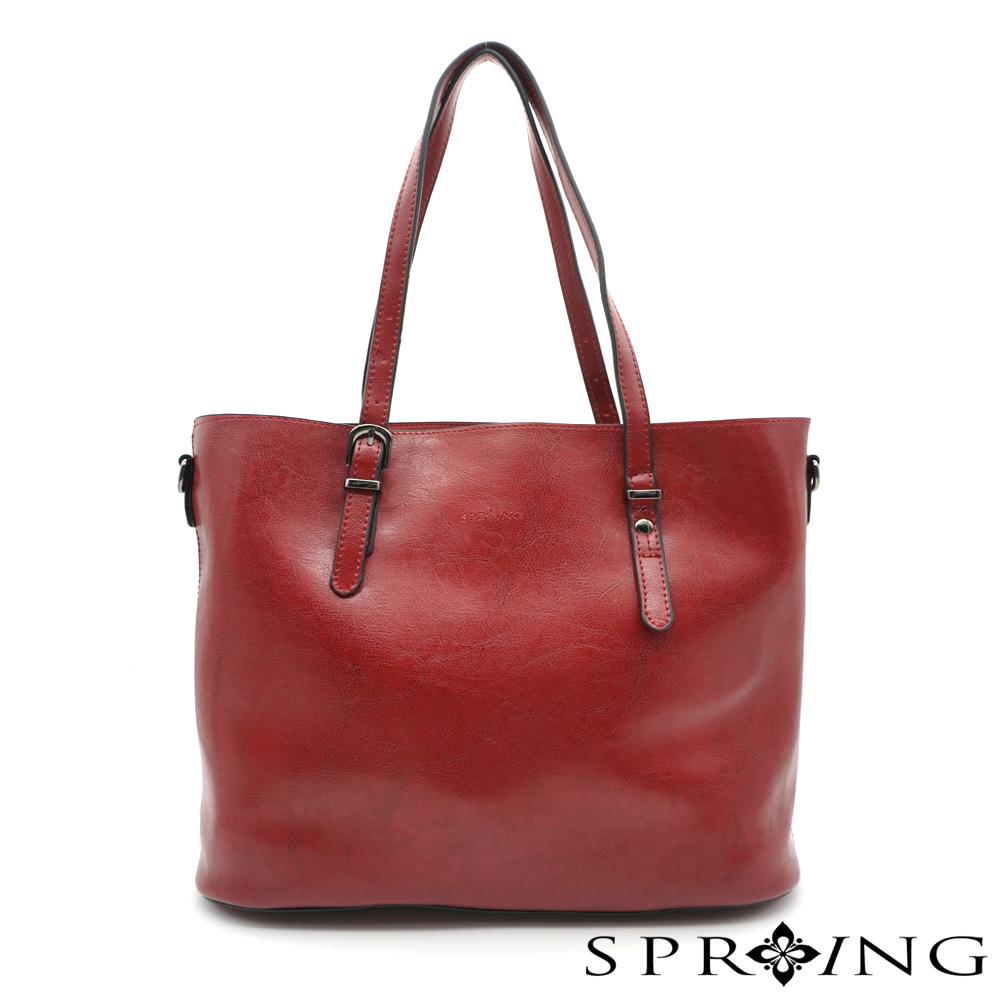 SPRING-大理石紋簡單生活托特包-紅